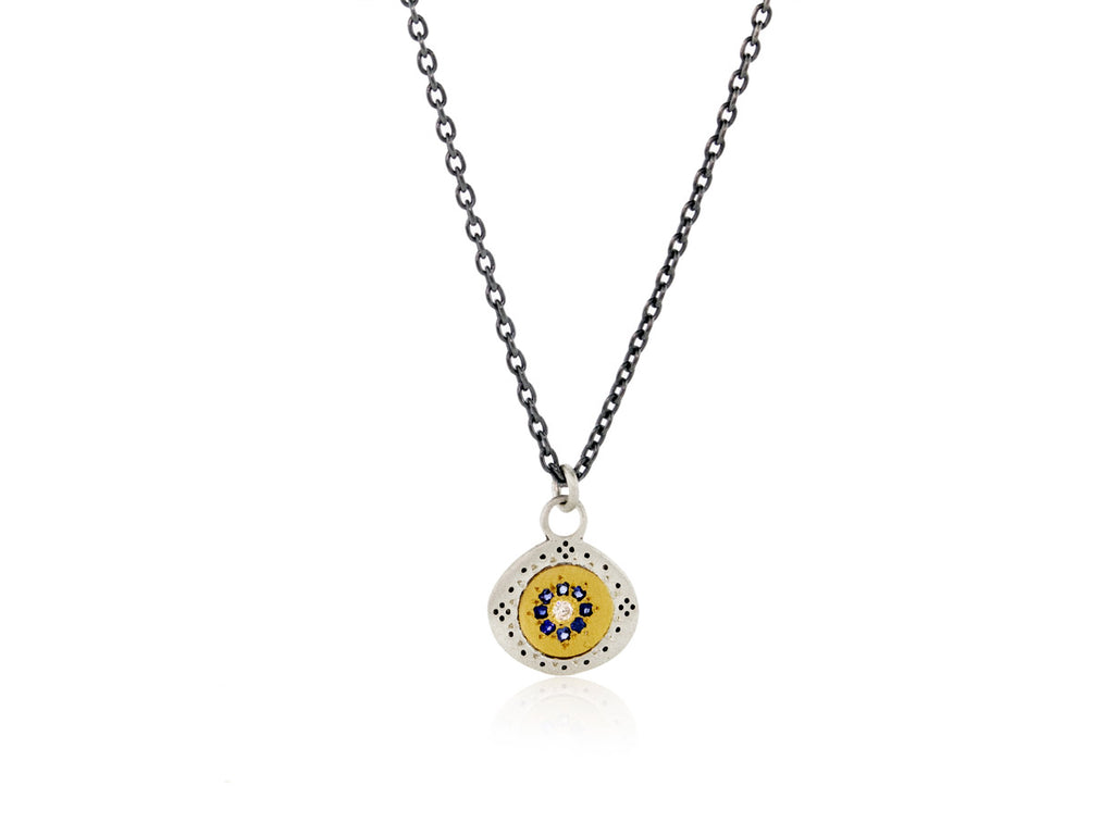 "Adel Chefridi Studio | Diamond + Blue Sapphire 18k Gold  ""Seeds of Harmony"" Charm Necklace 