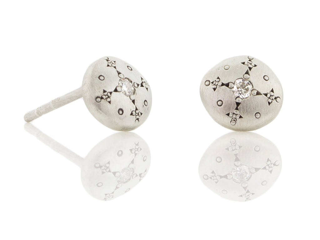 "Diamond + Sterling ""Silver Light"" Charm Studs"