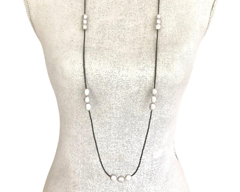 Ann Lightfoot | Grey Pearls + Pyrite Strand Necklace | Firecracker