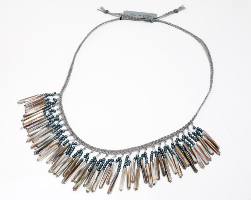 Ann Lightfoot | Hematite + Mother of Pearl Fringe Necklace | Firecracker