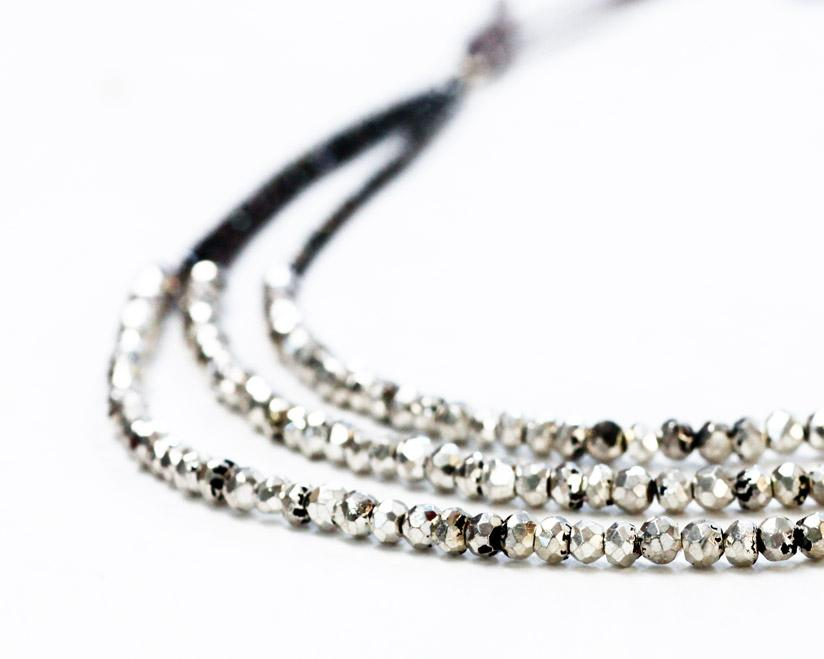 Ann Lightfoot | Hematite + Pyrite Strand Necklace | Firecracker