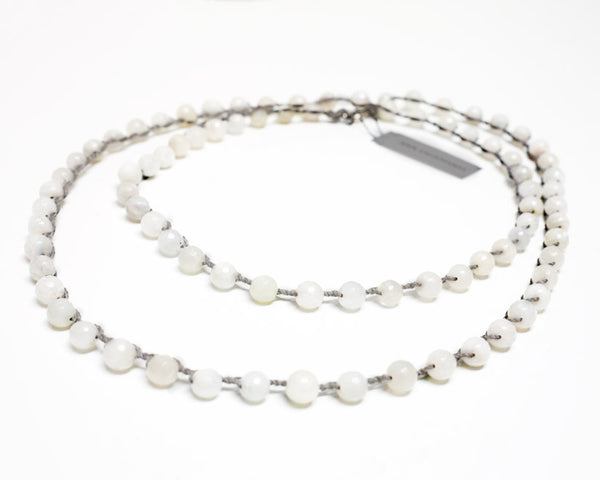 Ann Lightfoot Jewelry | White Moonstone + Sterling Silver Necklace | Firecracker