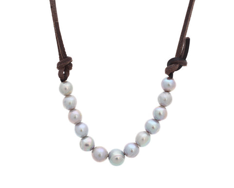 Ann Lightfoot | Grey Pearls + Espresso Leather Necklace | Firecracker