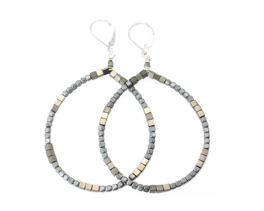 Ann Lightfoot | Hematite Hoop Earrings | Light Grey | Firecracker