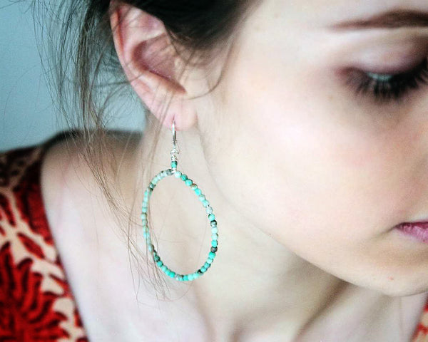 Ann Lightfoot | Faceted Chrysoprase Hoop Earrings | Firecracker