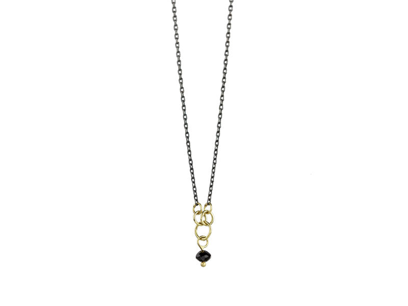 Sarah McGuire Studio | Black Diamond + 18k Gold Minnow Necklace | Firecracker