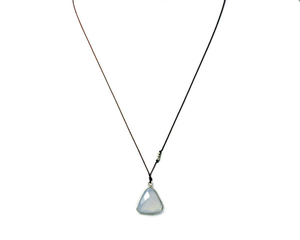 Blue Chalcedony + Silver Triangle Bezel Necklace