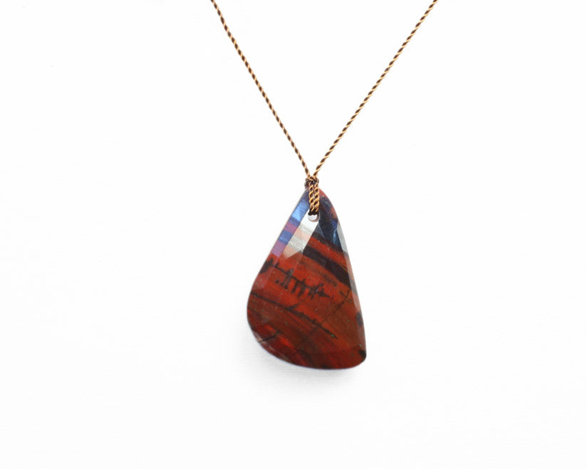 Margaret Solow Jewelry | Black + Brown Jasper Slice Necklace | Firecracker