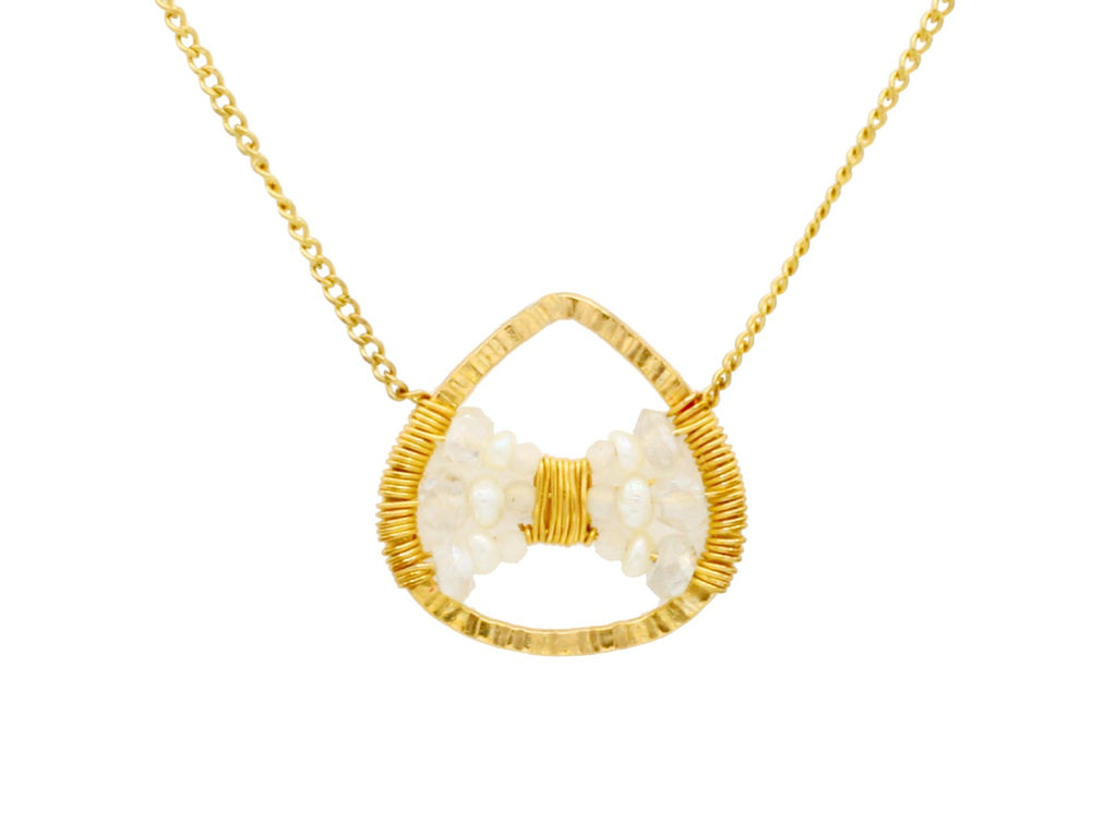 Dana Kellin Jewelry | Crystal + Pearl Bow Pendant Necklace | Firecracker
