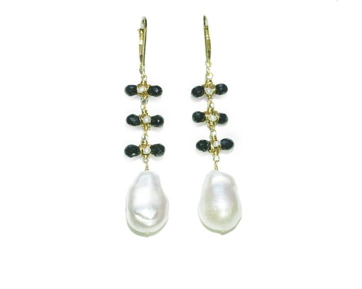 Dana Kellin Jewelry | Pearl + Black Crystal Dangle Earrings | Firecracker
