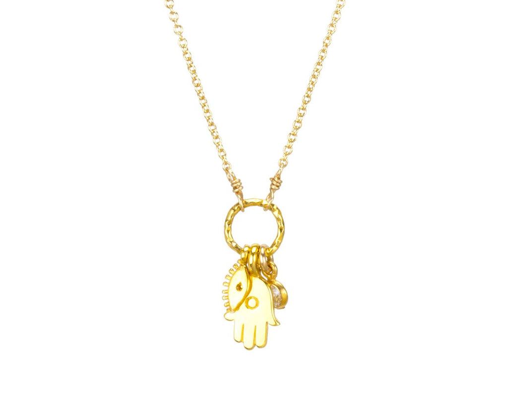 "Dogeared Jewelry | ""All is Well"" Gold Dipped Hamsa Cluster Necklace 