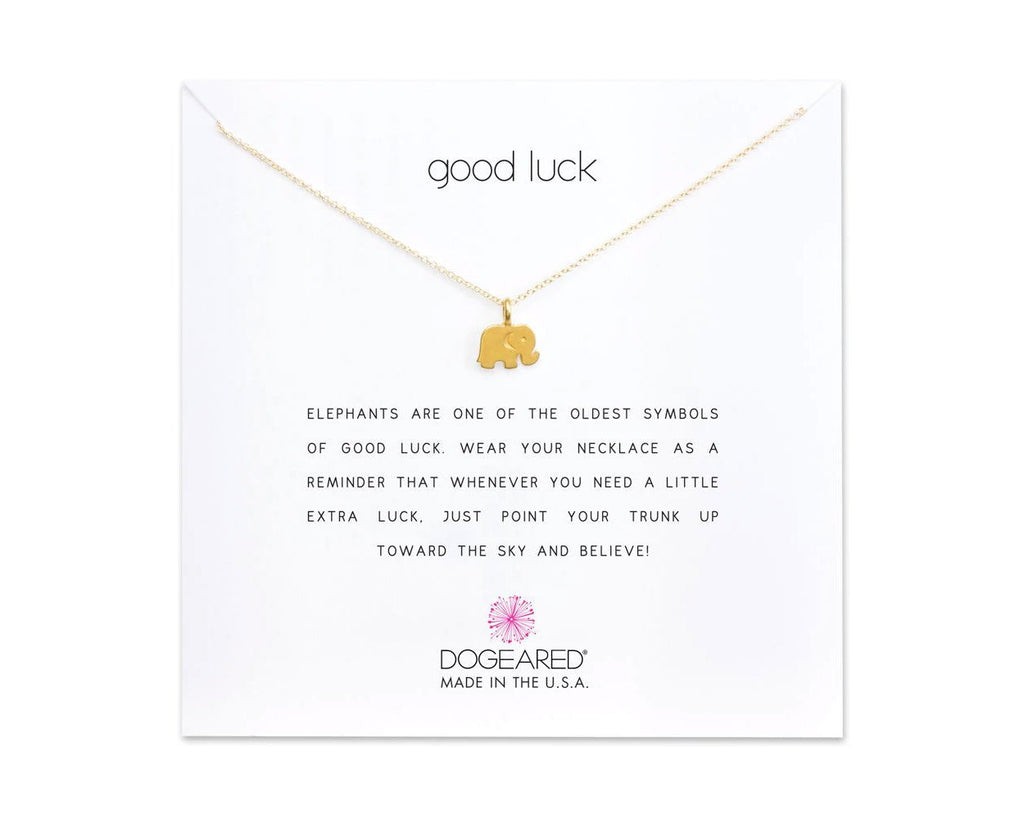 "Dogeared Jewelry | ""Good Luck"" Elephant Necklace (Gold) 