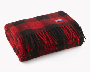 Faribault Woolen Mill Co. | Buffalo Check Wool Throw (Red) | Firecracker