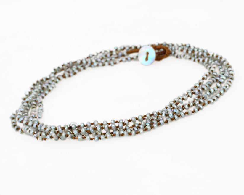 Lena Skadegard Jewels | Grey Seed Pearl Multistrand Necklace | Firecracker