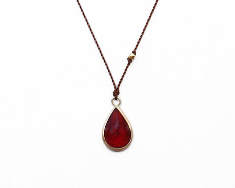 Margaret Solow Jewelry | Teardrop Garnet + 14k Gold Necklace | Firecracker