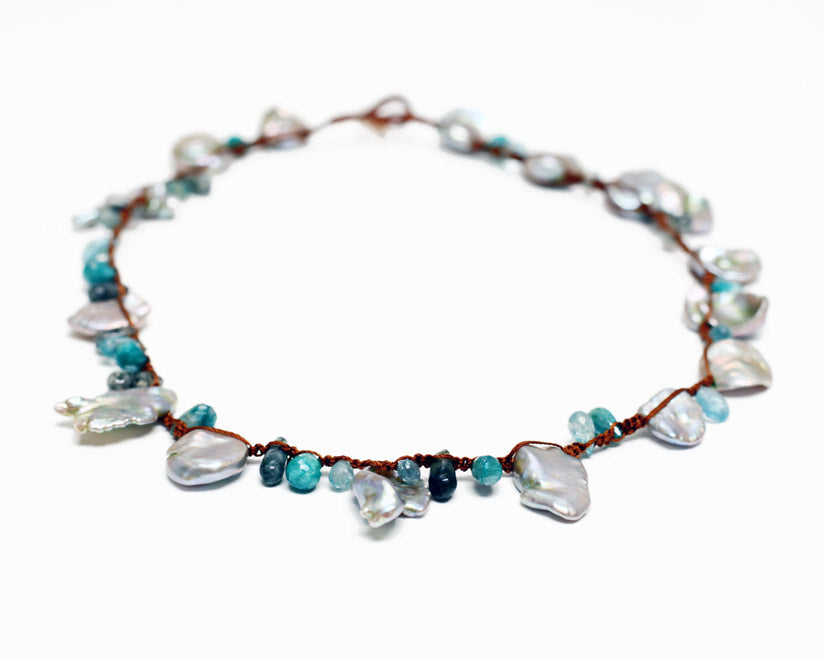 Lena Skadegard Jewels | Keshi Pearl + Gemstone Macrame Necklace | Firecracker