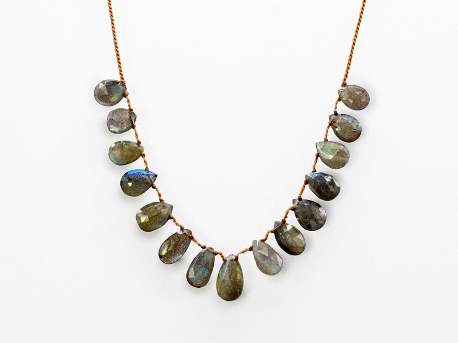Lena Skadegard Jewels | Labradorite Teardrop Tassel Necklace | Firecracker