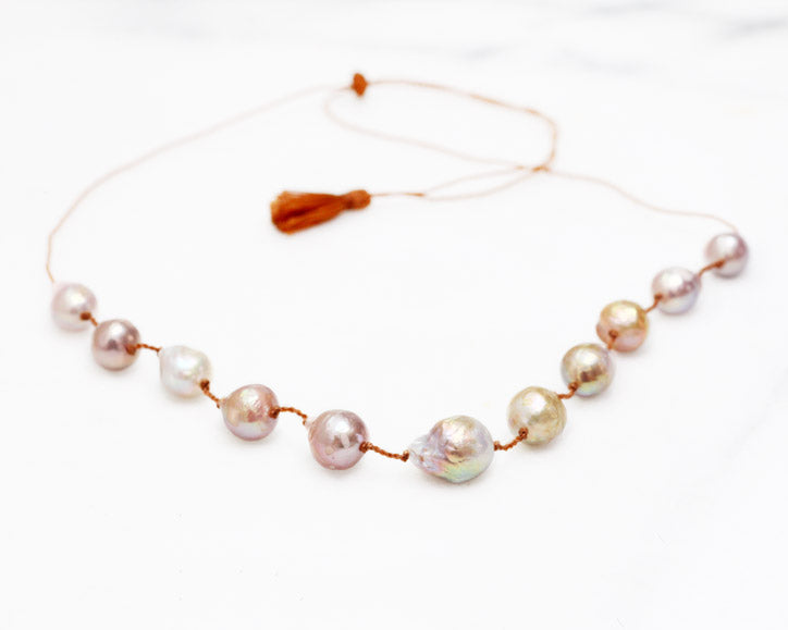 Mauve Baroque Pearl Necklace