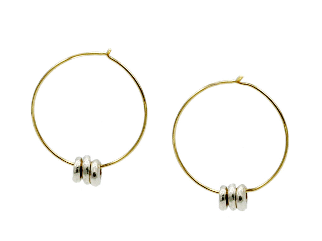 "Margaret Solow Jewelry | 14k Gold + Sterling Silver ""Wabi-Sabi"" Earrings 