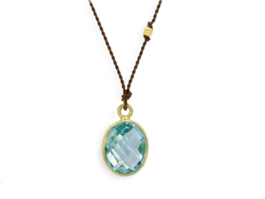 Margaret Solow Jewelry | Blue Topaz + 14k Gold Drop Necklace | Firecracker