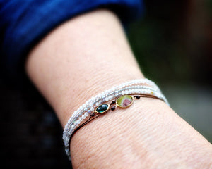 Margaret Solow Jewelry | Rainbow Moonstone + 14k Gold Bracelet | Firecracker