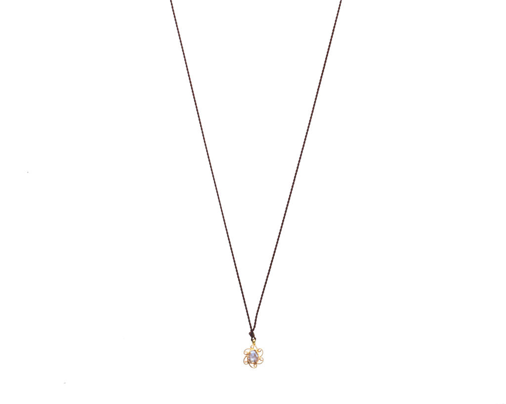 Margaret Solow Jewelry | Diamond + 18k Gold Flower Pendant Necklace | Firecracker