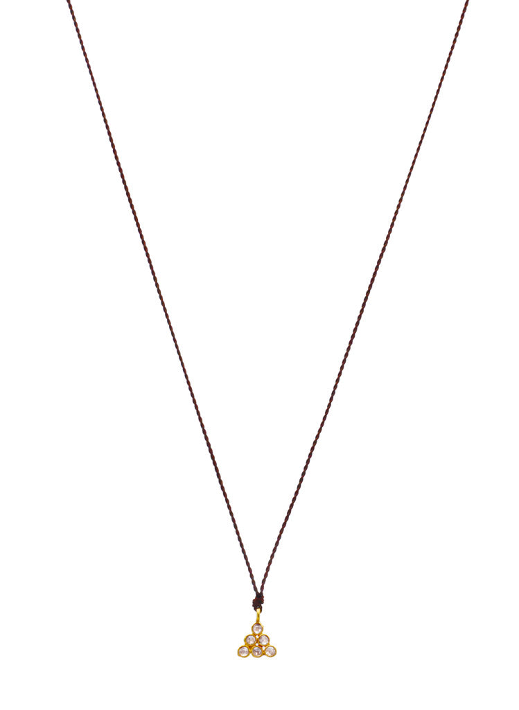 Margaret Solow Jewelry | Diamond + 18k Gold Triangle Pendant Necklace | Firecracker