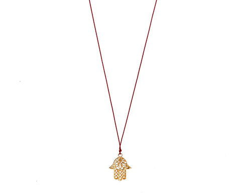 Margaret Solow Jewelry | Hamsa Hand + 14k Gold Pendant Necklace | Firecracker
