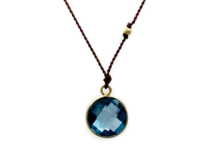 Margaret Solow Jewelry | London Blue Topaz + 14k Gold Drop Necklace | Firecracker