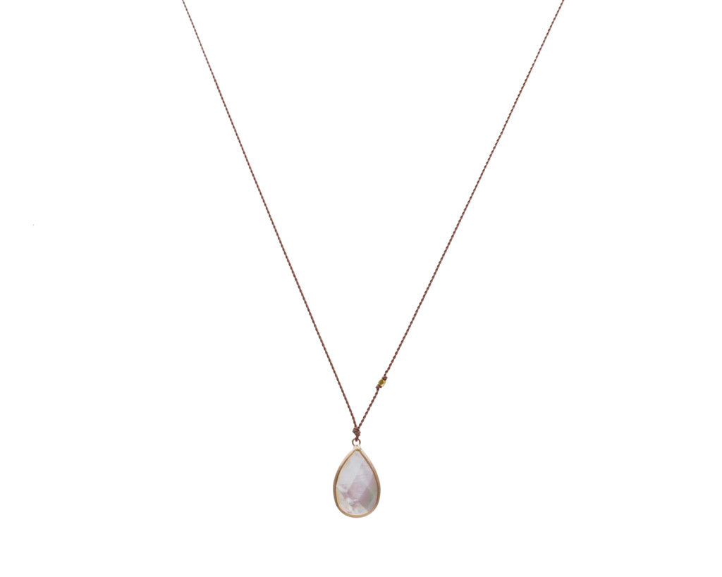 Margaret Solow Jewelry | Mother of Pearl + 14k Gold Drop Necklace | Firecracker