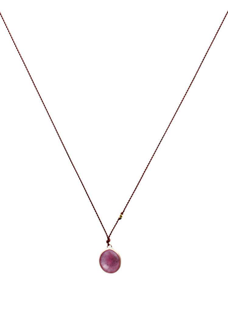 MargaretMargaret Solow Jewelry | Pink Sapphire + 14k Gold Drop Necklace | Firecracker