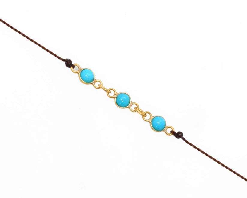 Margaret Solow Jewelry | Sleeping Beauty Turquoise + 18k Gold Bracelet | Firecracker