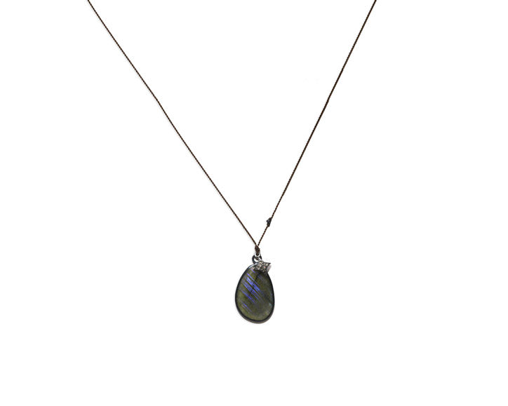 Margaret Solow Jewelry | Labradorite + Pave Diamond Starburst Necklace | Firecracker