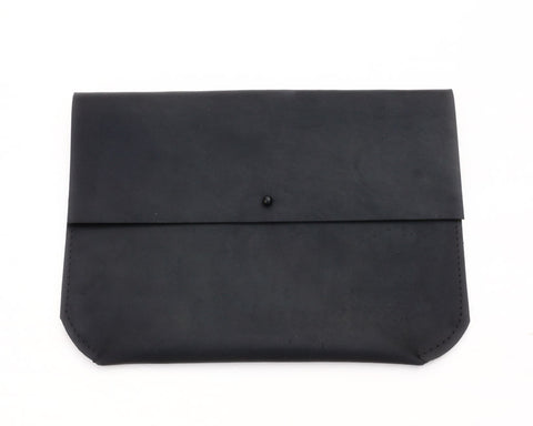 Matine | Geometric Leather Clutch (Jet Black) | Firecracker