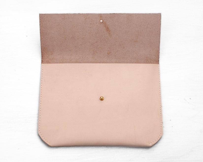 Matine | Geometric Leather Clutch (Veg-Tan) | Firecracker