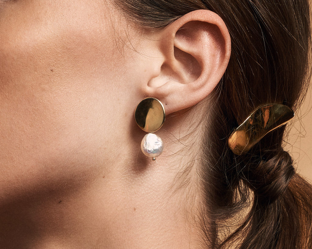 Odette New York | Coin Pearl Dent Earrings | Firecracker