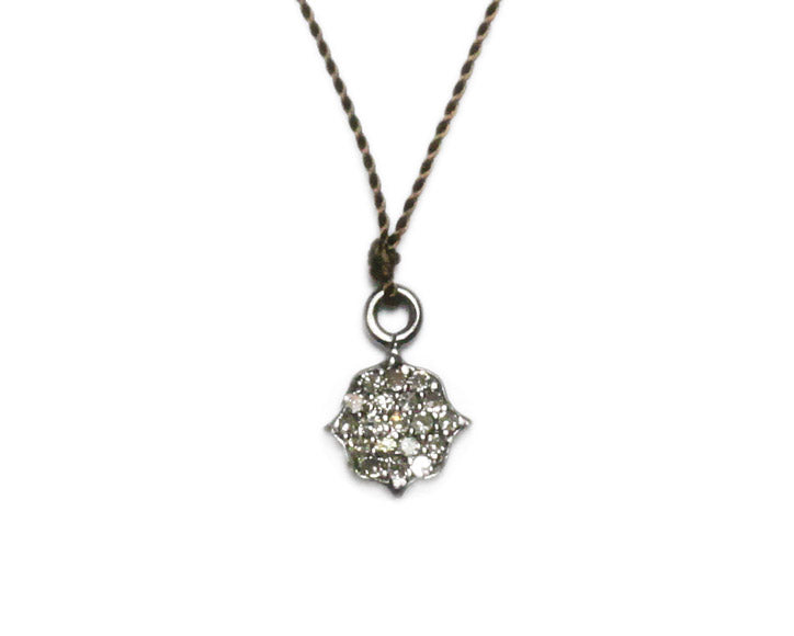 Margaret Solow Jewelry | Pave Diamond Alhambra Shield + Sterling Silver Necklace | Firecracker
