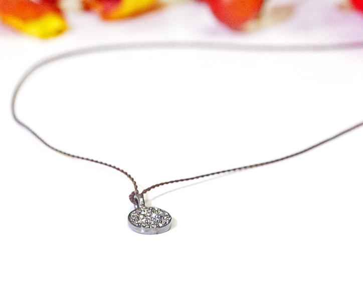 Margaret Solow Jewelry | Pave Diamond Circle Shield + Sterling Silver Necklace | Firecracker