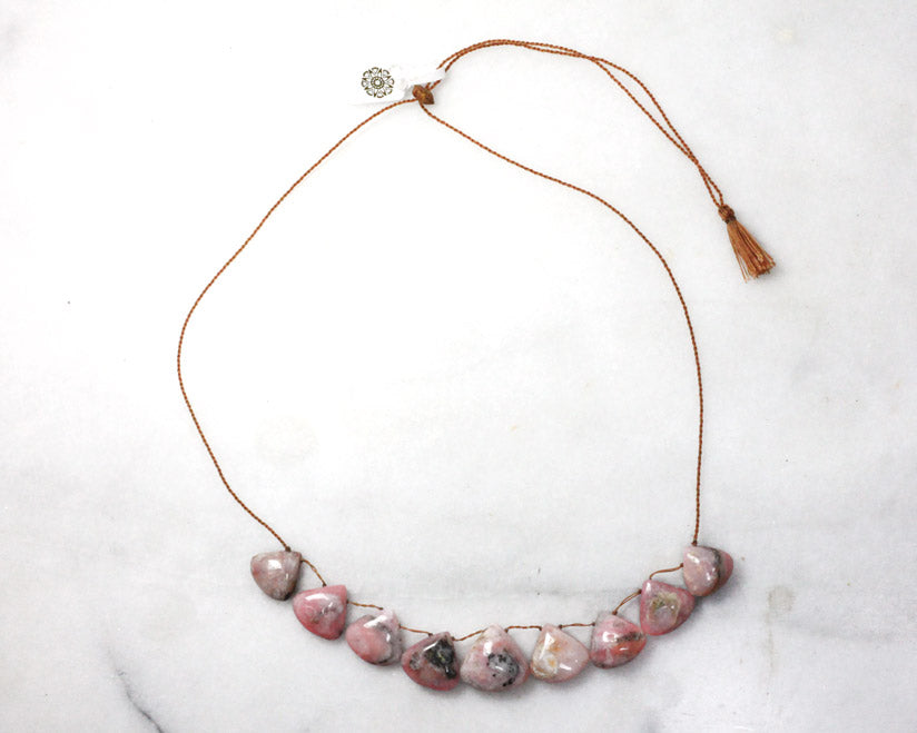 Lena Skadegard Jewels | Pink Opal Adjustable Tassel Necklace | Firecracker