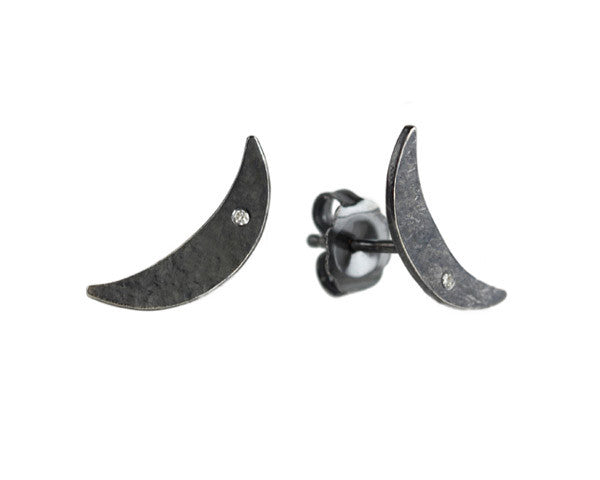 Sarah McGuire Studio | Oxidized Sterling Silver Crescent Studs w/Diamonds | Firecracker