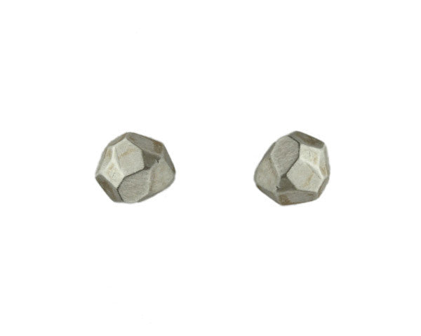Sarah McGuire Studio | Oxidized Sterling Silver Faceted Nugget Studs w/Diamonds | Firecracker