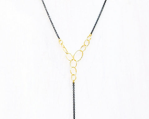 "Sarah McGuire Studio | ""Babble"" Lariat with 18k Gold + Sterling Silver 