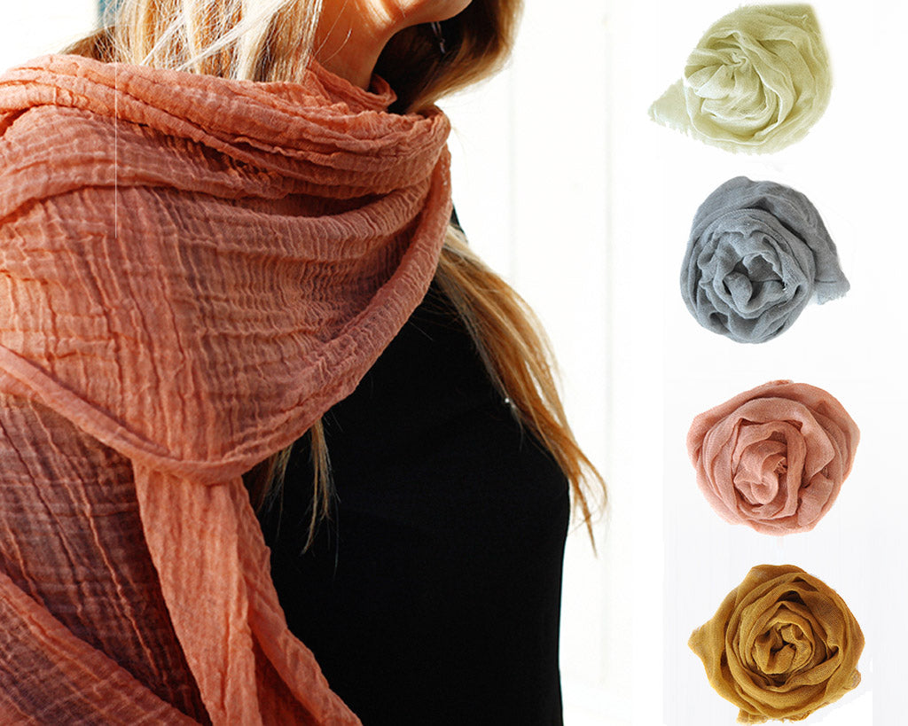 Scarf Shop | Hand Dyed Cotton Scarf | Firecracker