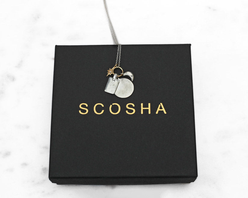 Scosha classic charms necklace w sterling silver gold firecracker scosha classic sterling silver charms necklace w gold firecracker aloadofball Image collections