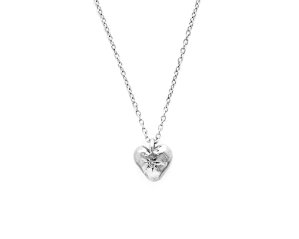 Scosha | Classic Heart Necklace w/ Sterling Silver + Diamond | Firecracker