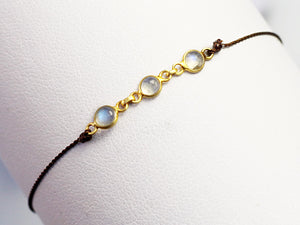 Margaret Solow Jewelry | Triple Moonstone + 18k Gold Bracelet | Firecracker