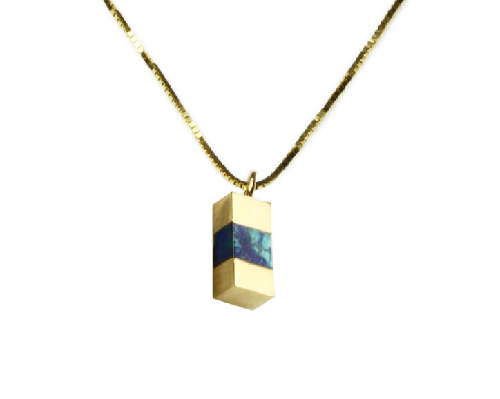 Young in the Mountains | Azurite + 14k Gold Keel Beam Necklace | Firecracker