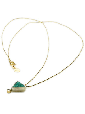 Young in the Mountains | Chrysocolla, Diamond + 14k Gold Geo Triangle Necklace | Firecracker