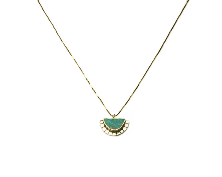 Young in the Mountains | Chrysocolla, Silver + Gold Selene Necklace | Firecracker