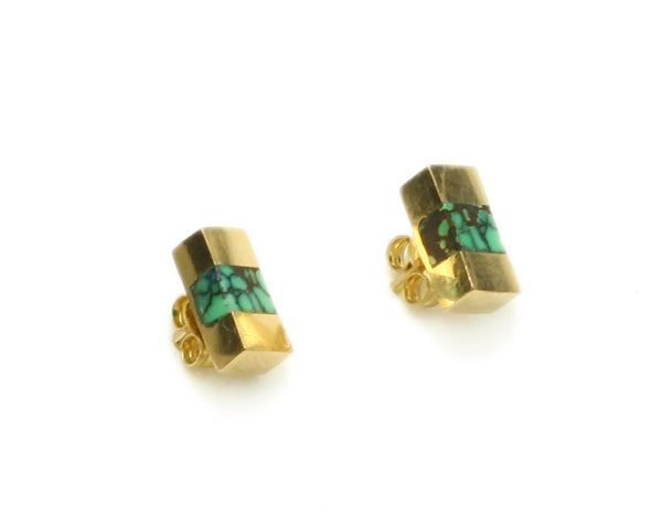 Young in the Mountains | Turquoise + 14k Gold Keel Beam Earrings | Firecracker